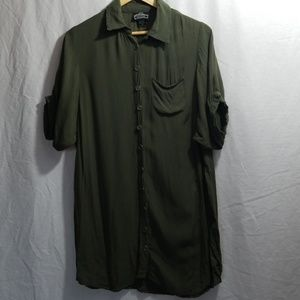 Angie boutique army green shirt dress size medium.
